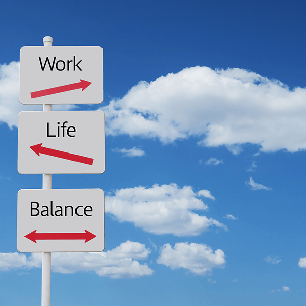 Street signs of work, life and balance