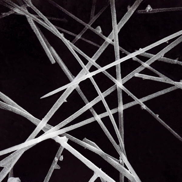 Close up of silicon carbide whisker produced by Tateho Chemical